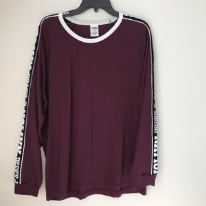 Victoria's Secret PINK Nation Burgundy Campus Tee
